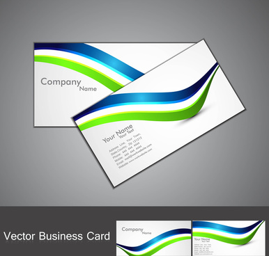 abstract stylish colorful wave business card set design