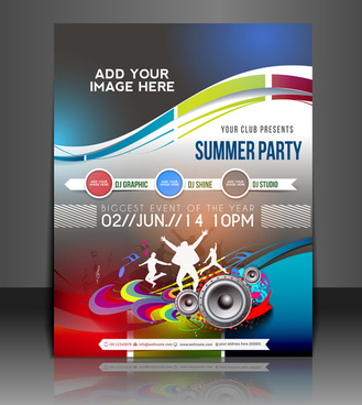 abstract summer party flyers design vector
