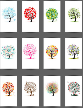 abstract tree cards vector set