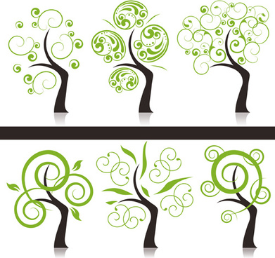 abstract tree design vector set