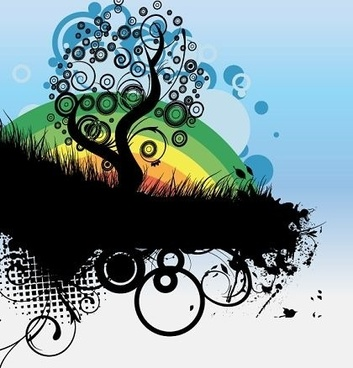 abstract background tree grass rainbow decoration grunge style