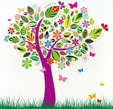 abstract tree with flower