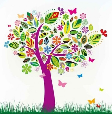 abstract tree with flower vector