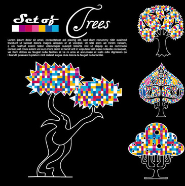 abstract trees background vector