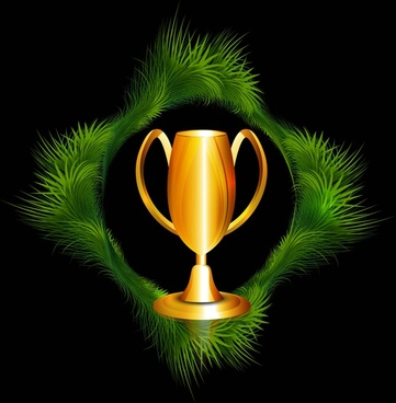 abstract trophy grass frame colorful vector design