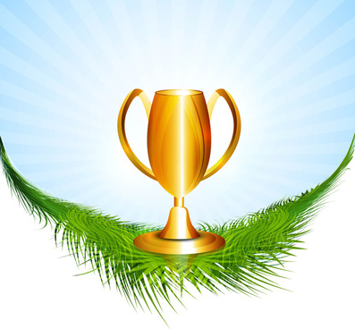 abstract trophy sitting on grass colorful vector design