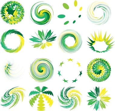 decorative elements templates modern green yellow dynamic shapes