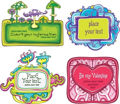 badge templates cute colorful flat mushroom heart decor