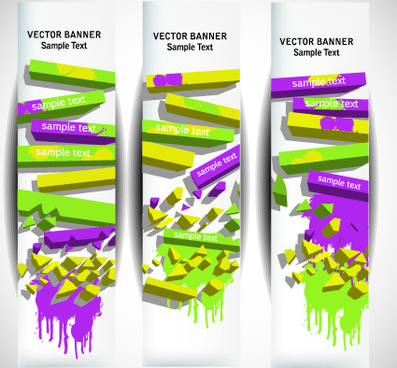 abstract vertical web banner vector set
