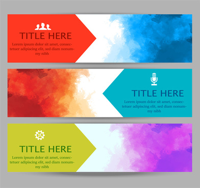 abstract watercolor banners sets