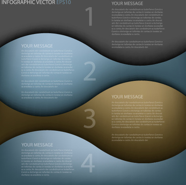abstract wave numbered infographics vector