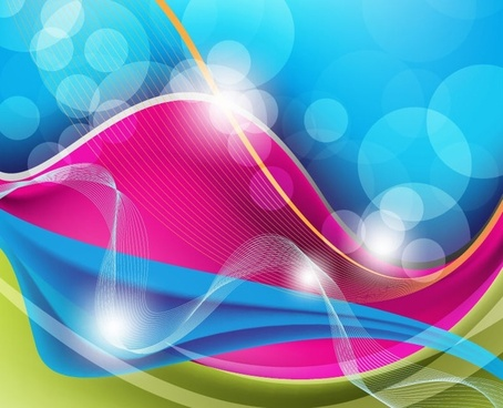 abstract colorful bokeh background various curves decoration