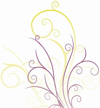 Abstraction with Floral Swirls Vector Graphic