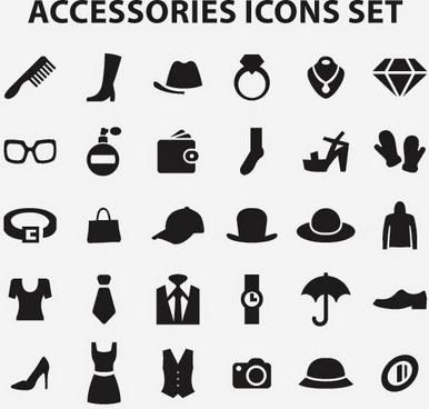 accessories icons set