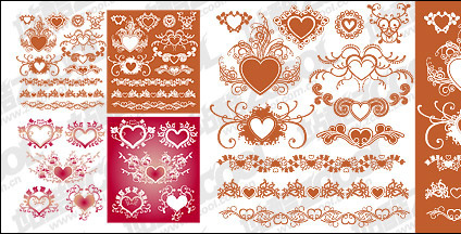 Accommodates a heart-shaped pattern with lace material element vector