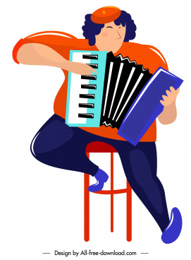 accordion player icon colored cartoon character sketch