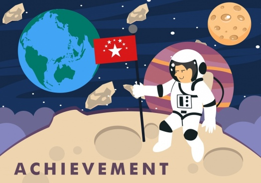achievement background planet astronaut icons colored cartoon