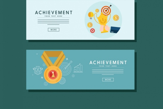 achievement banner cup medal icons webpage design style