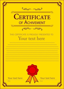 achievement certificate desin in classical yellow background