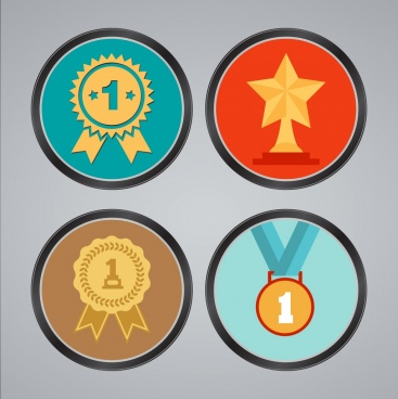 achievement concept various colored round medal icons decor