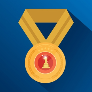 achievement icon shiny golden medal decoration