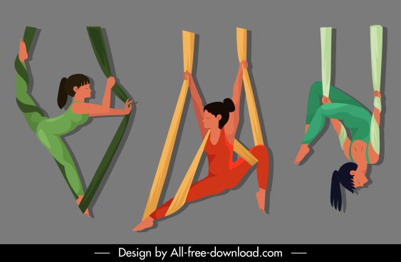 acrobat performer icons dynamic design cartoon sketch