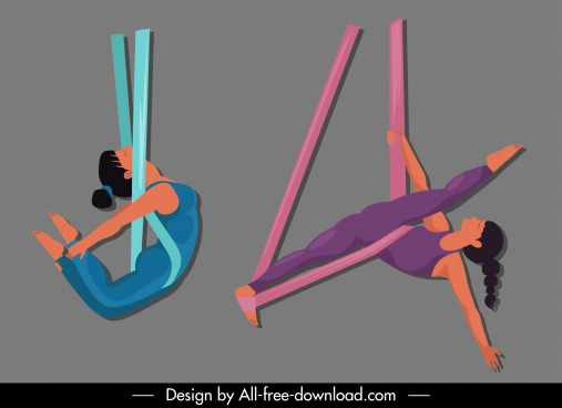 acrobat yoga icons cartoon character sketch