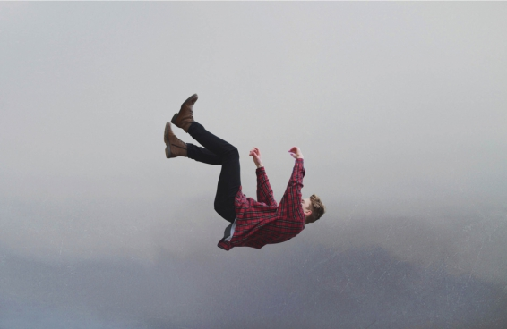 young man with free falling posing style