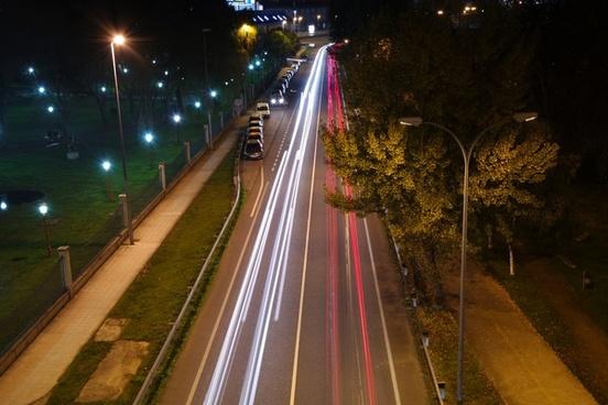 action automobile blur car city evening headlight