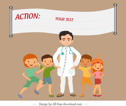 action background joyful doctor children sketch cartoon characters