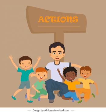 action background joyful young people signboard sketch