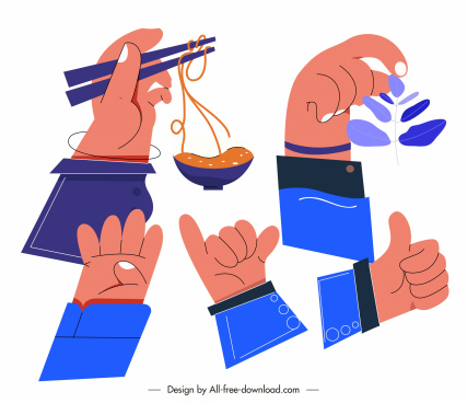 action hands icons colored flat handdrawn sketch