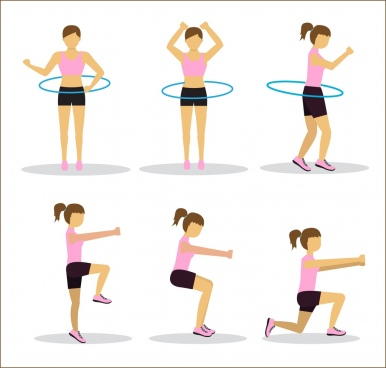 active human icons girl doing exercise various postures