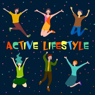 active lifestyle background excited jumping human icons