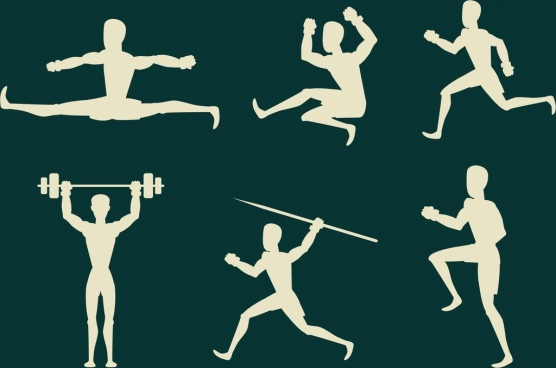 active people icons various sports icons white silhouette