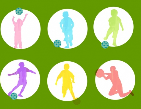 active soccer player icons colorful silhouette isolation