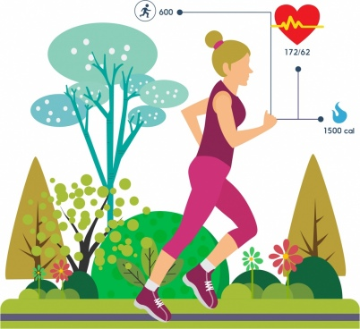 active woman icon exercise activity colorful trees backdrop