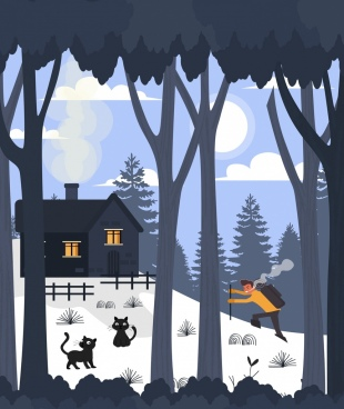 activity background hiker snow mountain cottage icons