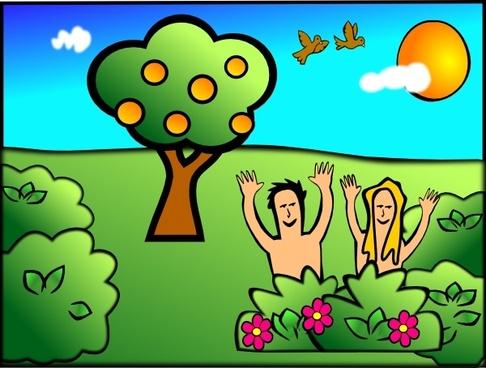 Adam Eve Happy clip art