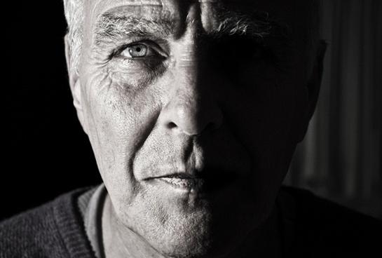 adult bald clothes clothing elderly eyeglasses face