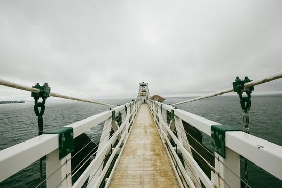adult beach boat bridge lake landscape light nobody