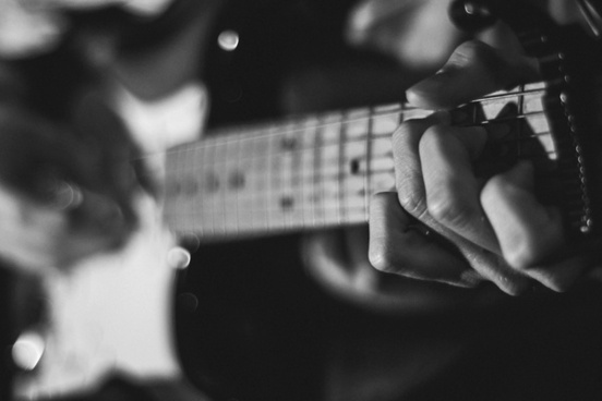adult black and white blur concert guitar jazz men