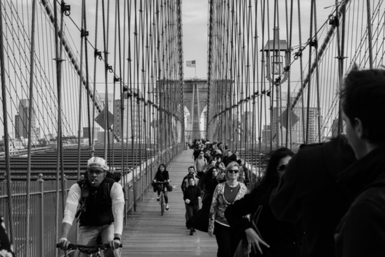 adult black and white bridge brooklyn bridge city