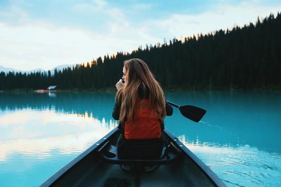 adult canoe daytime evening lake mountain one