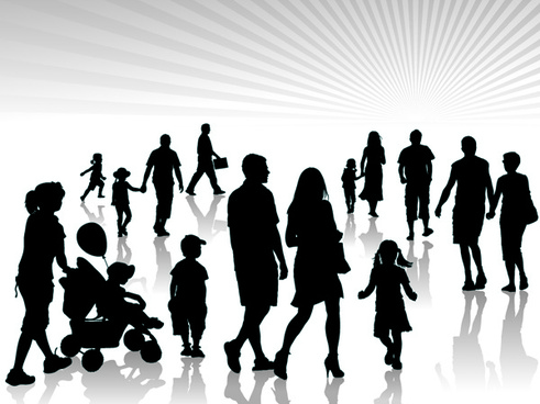 adults and children silhouette vector