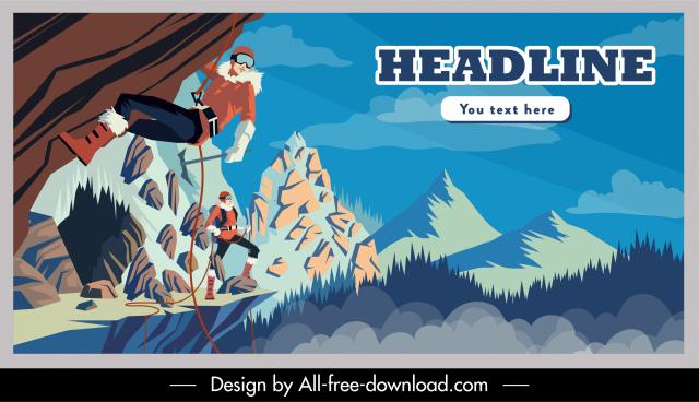 adventure advertising poster mountain climbers sketch cartoon design
