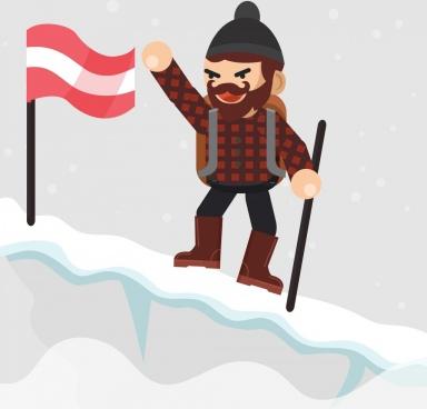 adventure background snow mountain flag explorer icons