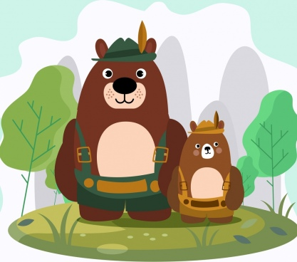 adventure background stylized bears icons decor