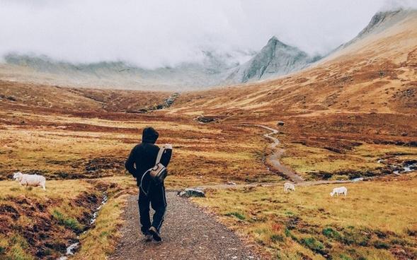 adventure backpacker daytime exploration freedom