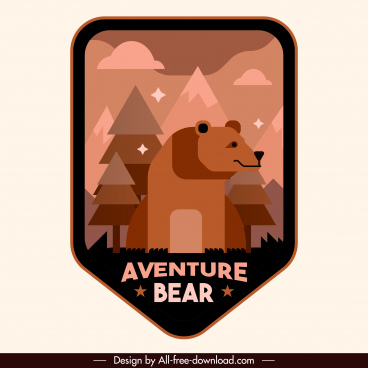 adventure badge template cute wild bear sketch